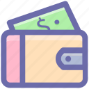 dollar, money wallet, open wallet, purse, violet, wallet icon