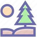 conifer tree, fir tree, forest, pine tree, tree, yard tree icon