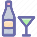 bottle, bottle and glass, drinking, drinks, glass, wine, wine glass icon