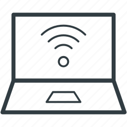 internet connection, laptop, wifi connection, wifi connectivity, wifi signals icon