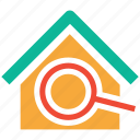 building, find, location, magnifier icon