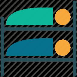 bunk bed, hostel, hotel, sleep icon