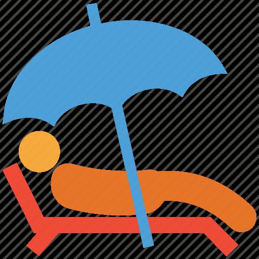 beach, sunbath, sunbathing, tanning icon