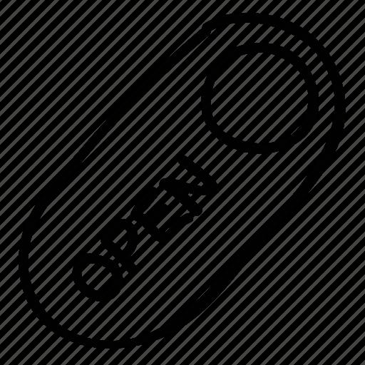 label, open, shop badge, tag icon