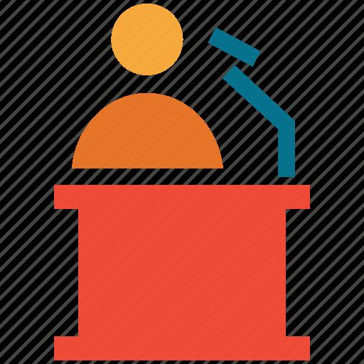 business, lecture, presentation, speech desk icon