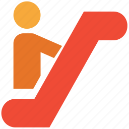 down, escalator, stairs, up icon