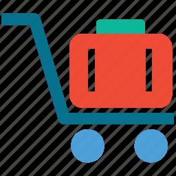 hand cart, hand truck, luggage cart, platform truck icon