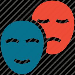 entertainment, masks, performance, theater icon