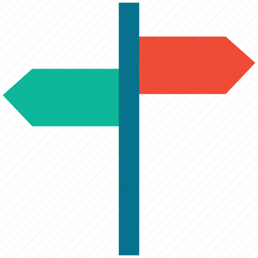 arrows, directions, location, signpost icon