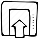 elevator, down, lift, move, up icon