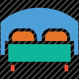 bed, bedroom, double bed, sleep icon