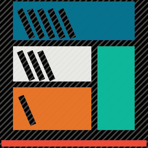 books, bookshelf, library, study icon