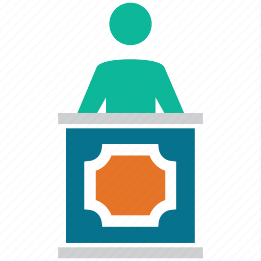 front desk, lecture, manager, speech desk icon