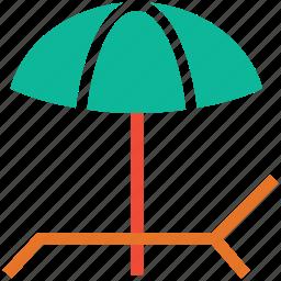 beach, deck chair, umbrella, vacation icon
