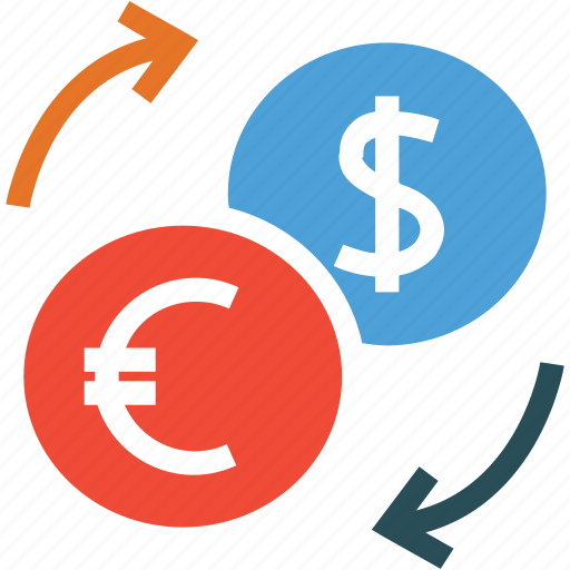 dollars, euro, money exchange, money transfer icon