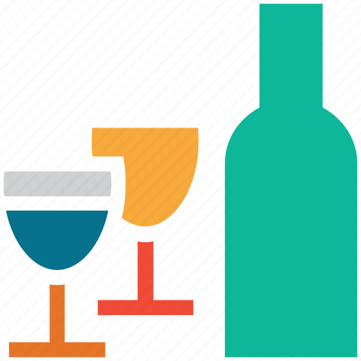 alcohol, bottle, drink, glasses icon