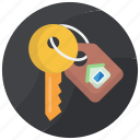 key, keychain, lock key, room key, security icon