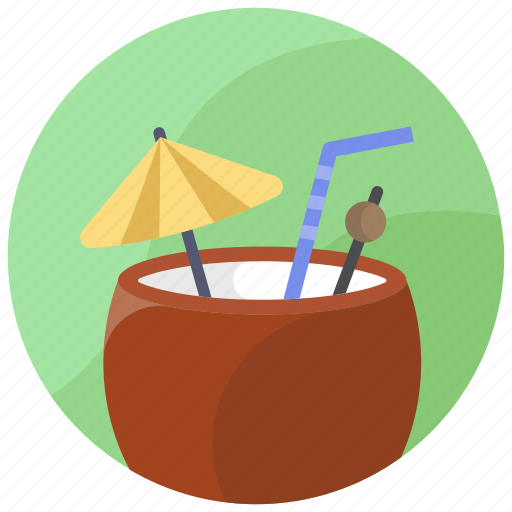 beach, coconut, drink, summer, vacation icon