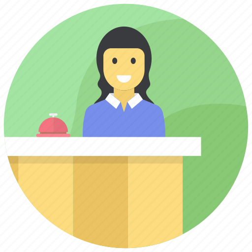 front desk, help desk, receotion, reception, receptionist icon