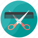 comb, cutting, hair, salon, scissor icon