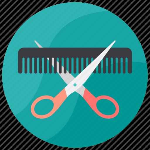 comb, cutting, hair, salon, scissor icon