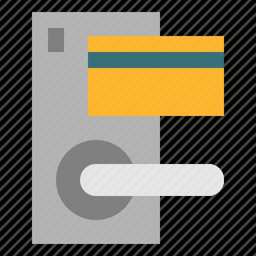 door, hotel, keycard, lock icon