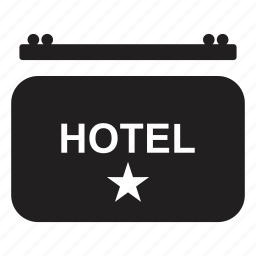 board, hotel, indication, sign, transport icon