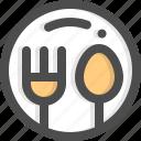 dinner, dish, food, fork, plate, restaurant, spoon