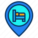 bed, hotel, location, map, motel, pin