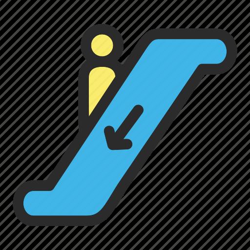 direction, down, escalator, hotel icon