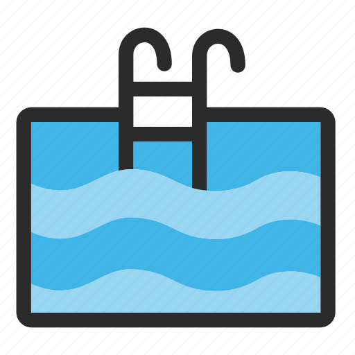 building, holiday, hotel, pool, sign, swimming icon
