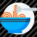food, fork, pasta, plate, restaurant, spaghetti icon icon