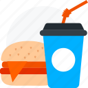 burger, burger with drink, drink, fast food, junk food icon icon