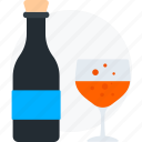 beer, beer bottle with glass, wine, wine bottle and glass icon icon