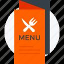 cuisine menu, food menu, menu, menu book, menu card icon icon