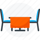 chair, dining table, furniture, restaurant table, table icon icon