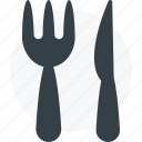 fork, fork and knife, knife icon icon