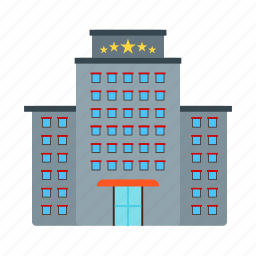 building, five, hotel, luxury, service, star, travel icon