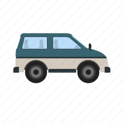 car, journey, minivan, travel, van, wagon, watercolor icon