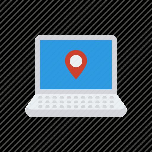 device, gadget, laptop, location icon