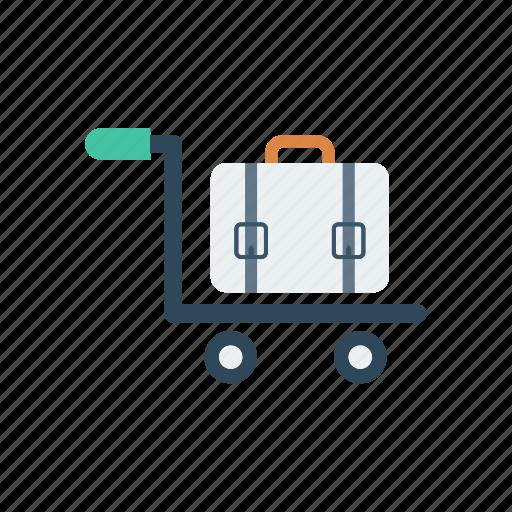 briefcase, dolly, luggage, trolley icon