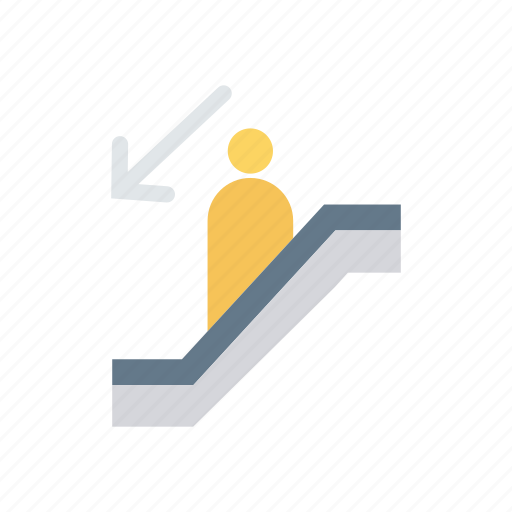 decrease, down, lift, stairs icon