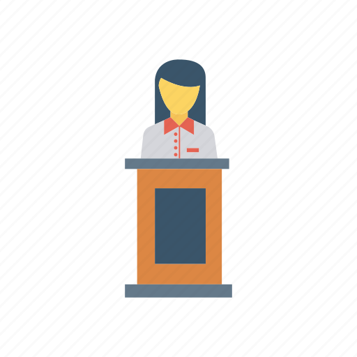 desk, female, reception, speech icon