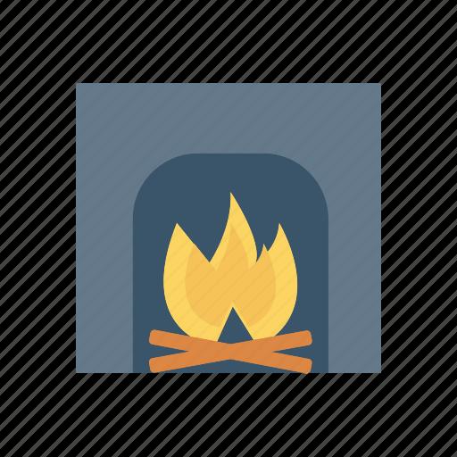 burn, chimney, fireplace, hot icon