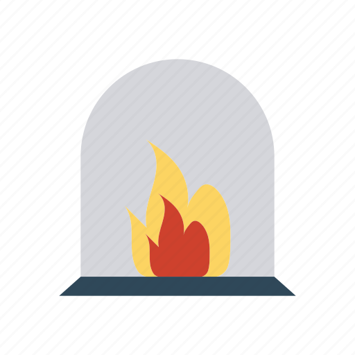 chimney, fire, fireplace, hot icon