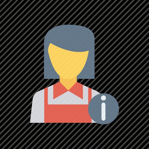 female, hotel, resturant, waiter icon