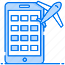 booking flight, booking service, mobile booking, online booking, plane booking icon