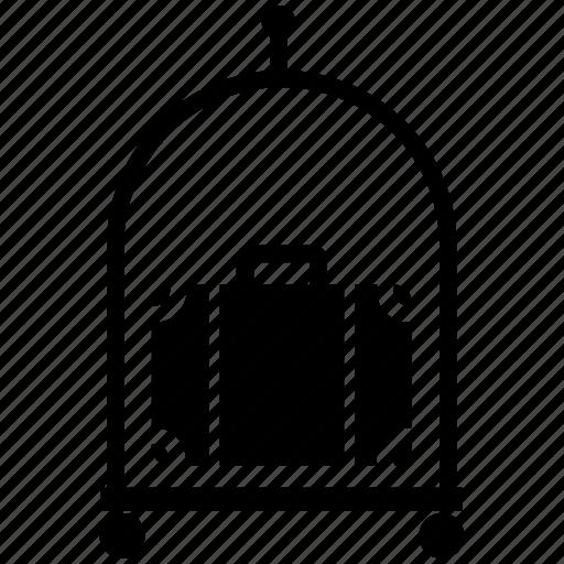 baggage, bellhop, hotel, luggage cart, luggage trolley, travel icon