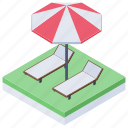 beach bed, lounge chair, sunbath, sunbathing, sunbed, tanning bed icon