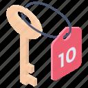 access key, hotel key, key chain, lock, master key icon